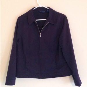 Blue zip casual jacket